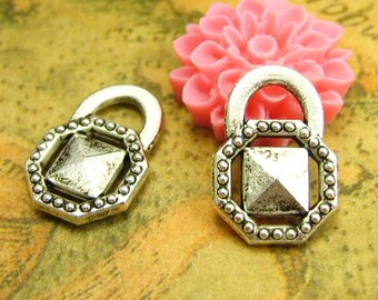 20 pcs Antique Silver Lock Charms Diamond Lock Charms 15x10mm CH1408