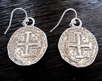 Spanish Coin Earrings in Sterling Silver (E1)