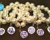 Preppy Pearl Monogram Enamel Bracelet Arm Candy Perfect for Stacking Bangles, Bridal Party, Gifts,