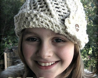 Crochet pattern. Acacia cloche/beanie hat. (toddler, child, sm, med, lge sizes)