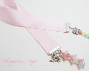 Pastel Pink Ribbon Bookmark Tea In Spring Tea Pot Kettle and Butterfly Charms