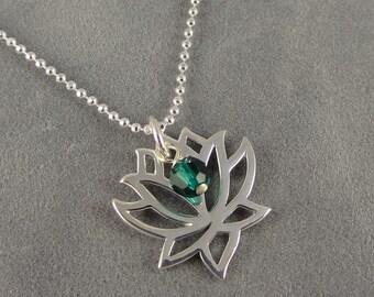 Lotus Flower Necklace - Sterling - Custom Swarovski Birthstone - Meditation - Yoga