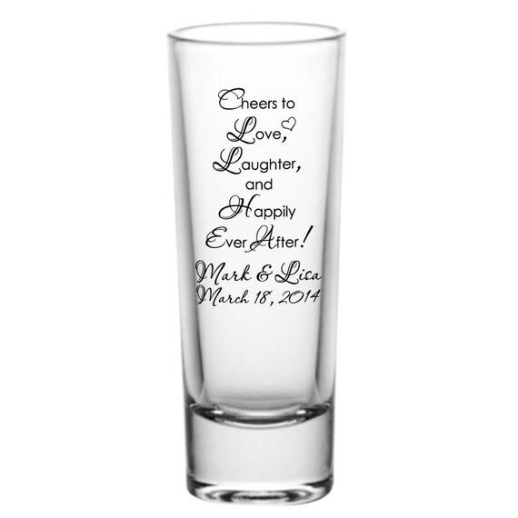 Wedding Shot Glasses: 72 Personalized Wedding Favor 2oz Tall Glass Shot Glasses