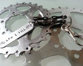 Bike Chain Key Chain Hand Stamped Personalized - KETEXT01