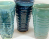 Tumblers for your beverages in Light Blue, Robin Egg, and Veriegated Turquoise