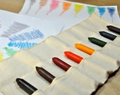 8 Handmade Jumbo Beeswax Crayons (Waldorf) with Handmade Canvas Case - Rainbow colors plus Black and Brown