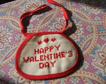 Vintage Counted Cross Stitch - Happy Valentine's Day
