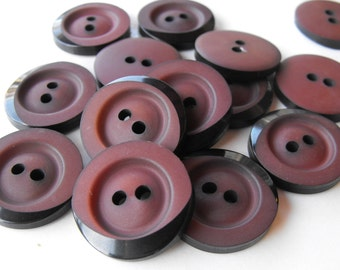 24 Chocolate Brown Tipped Round Buttons Size 1""