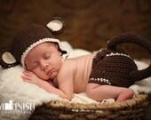 Crochet Monkey Photography Prop-Earflap Hat W/Diaper Cover-Monkey Beanie-Monkey Tail-Flower Hat-Infant to 12 Months