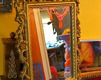 Take 20% Off Vintage FLORAL Framed Gold Mirror or I CUSTOM Paint