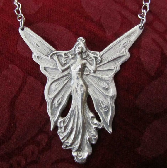 Angel Fairy pendant necklace Art Nouveau style pewter fairy necklace vintage jewelry design SALE