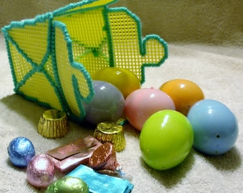 Yellow Plastic Canvas Chinese Take Out Container With Six Candy Filled Easter Eggs