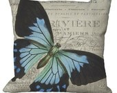 Blue Butterfly in Choice of 14x14 16x16 18x18 20x20 22x22 24x24 26x26 inch Pillow Cover