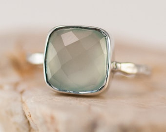 Aqua Blue Chalcedony Ring - Gemstone Ring - Stacking Ring - Sterling Silver Ring - Cushion Cut Ring