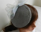 Grey Straw Fascintaor with Crinoline Sparkle Bow