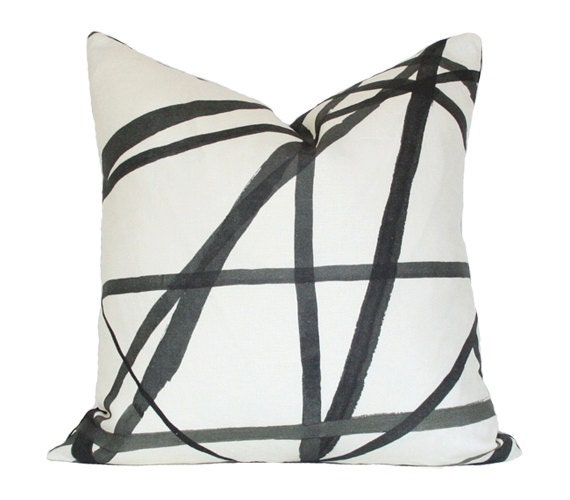Channels Ebony & Ivory -Kelly Wearstler -  Designer Pillow Cover (single-sided)