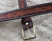 Hand-tooled Heavy Leather Belt - B23013S - Nylon-Stitched - Snap-on Solid Brass buckle.  Ships Free inside the USA