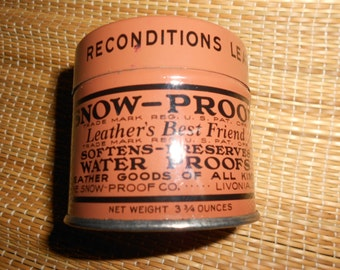 "Advertising Tin ""Snow-Proof"" RARE Vintage Lithographed Tin Collectible - Boxes-Tins -Canisters-Jars"