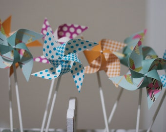 Circus or Carnival Birthday Party Pinwheels Paper Pinwheels 12 mini Pinwheels Bring in the circus (Custom orders welcomed)