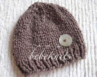 Hand Knit Organic CottonTeddy Bear Brown Newborn Hat