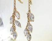 Dangle Earrings, Clear CZ Leaf Earrings, Drop Earrings, Women's Jewelry, Bridal Jewelry