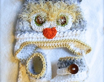 Baby Gift set Owl hat and booties