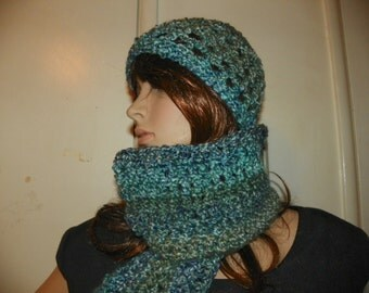 Ocean Waves Scarf and Hat Set Redy to Ship