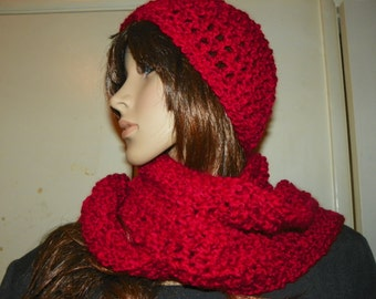 Red Scarf and Hat Set Very Soft Yarn Ready to Ship