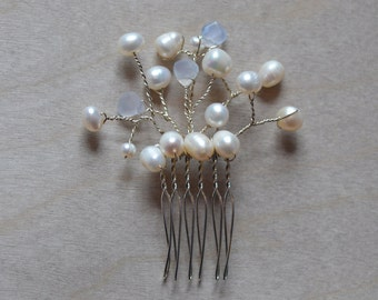 Pearl Hair Comb Winter Wedding Delicate Wire Wrapped Chalcedony White Weddings Brides Bridesmaids Prom Special Occasions Maid of Honour