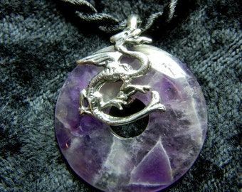 Dragon pendant - Sterling silver and purple on a black cord