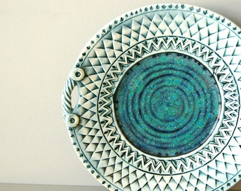 "Made to Order.....10"" Platter, Handmade Pottery, Blue Pottery, Textured with Handles"