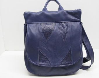 Purple leather backpack or messenger bag or purse shoulder crossbody convertable bag womens
