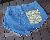 SALE high waist jean shorts with floral pocket CHEEKYS vintage 90's SALE