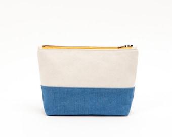 Ocean Colorblock Travel Case - Tangerine Orange, Ivory, and Blue Cotton Cosmetic Bag