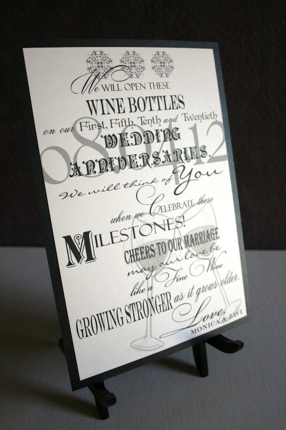 Wine Bottle Guest Book Sign Wedding Anniversary Birthday