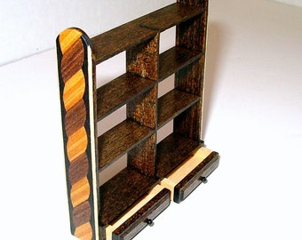 Hanging Shelves, Wood Inlay, Dollhouse Miniature 1/12 Scale, Hand Made in the USA
