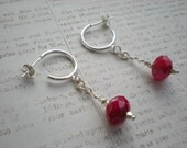 Kiss me earrings, Valentine's Day, gift for her, red quartz, sterling silver, one of a kind jewelry by Grey Girl Designs on Etsy - greygirldesigns