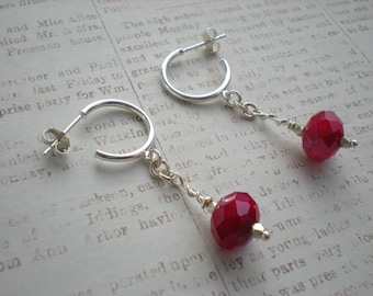 Kiss me earrings, Valentine's Day, gift for her, red quartz, sterling silver, one of a kind jewelry by Grey Girl Designs on Etsy