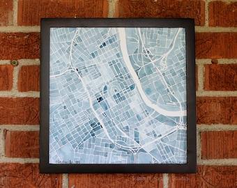 Nashville Blueprint 12x12 Indigo Navy Blue Jean Southern City Map