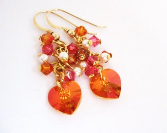Exotic Hot Pink Orange Earrings, Colorful Orange and Pink Jewelry, Swarovski Crystal Jewelry, Heart Cluster Earrings, Sunset Colors