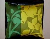 "16"" x 16"" Marimekko Dark Green and Burnt Yellow Contemporary Cushion Cover"
