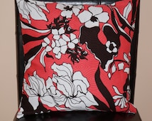 """Two 16"""" x 16"""" Contemporary Saffron, Black and White Floral Print Textured Cushion Covers"""