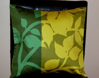 "16"" x 16"" Marimekko Dark Green and Burnt Yellow Contemporary Cushion Cover"