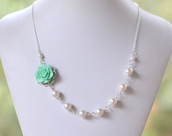 Mint Aqua Rose Asymmetrical Bridesmaid Necklace with White Swarovski Pearls. Bridal Jewelry. Mint Bridesmaids Gifts