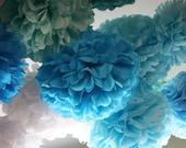 Tissue Paper Pom Poms - Set of 10 Poms - Your Color Choice- SALE