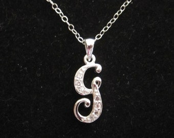 925 sterling silver cz letter initial g pendant charm with necklace chain personalized monogram necklace