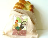 Reusable Rooster Bread Bag, Linen Snack Bag, eco friendly lunch pouch, neutral green