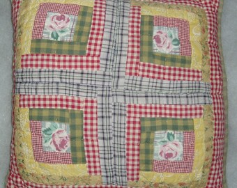Quilted Pillow, Floral Geometric Design