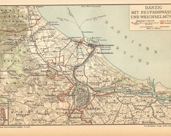 1904 Original Antique Dated Map of Danzig, Gdansk and its Surroundings
