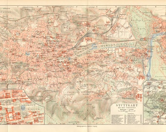 1905 Original Antique City Map of Stuttgart and its Surroundings